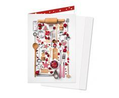 3 Stück rot weiße nostalgische Küchenutensilien im vintage look; Doppelkarte (10,5 x 14,8 cm) mit Kuvert in 1a Qualität aus eigener Herstellung. Limitierte Editon 2015