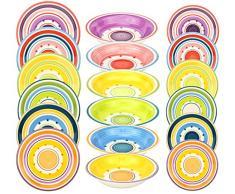 18-teiliges Tellerset Cefalú für 6 Personen im farbenfrohen Mediterranen-Stil - 6 Essteller, 6 Suppenteller, 6 Dessertteller