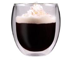 AKTION: 320ml doppelwandiges Thermoglas mit Schwebe-Effekt, Teeglas / Kaffeeglas für Cappuchino, Milchkaffee, Tee, Eistee, Schorle, Desserts oder als Eisbecher geeignet, 30R by Feelino