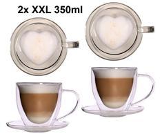 2x 350ml doppelwandige Glas Thermo-Herztassen mit Untersetzer - Glas-Teetasse / Kaffeetasse mit Schwebeeffekt, Herz Herzform innen zum Muttertag, Weihnachten - Feelino