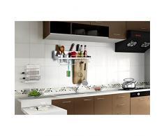 SENYANG Multifunktions Küche Rack Organizer Regale mit Zaun, Wand hängende Aluminium Küche Rack von Wand Regal, gehören Gewürz Flasche Rack, Utensilien und andere Küche Gadgets (Silber)