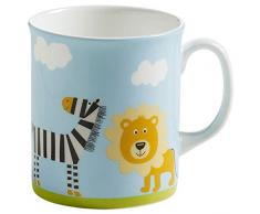 Maxwell & Williams S91006 Childrens Safari Becher, Kinderbecher, Tasse, Motiv: Löwe und Zebra, in Geschenkbox, Porzellan