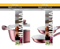 Domestic TOP Selection by Mäser, Serie Himalia, Kochtopf-Pfannen-Set 9-teilig, antihaftbeschichtet, mit weißer ILAG-CERAMIC-Beschichtung, in der Farbe Bordeauxrot