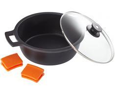 BRA Efficient hoher Kochtopf mit Glasdeckel und Silikongriffe, schwarz, 28 cm