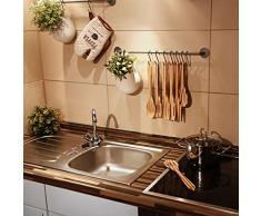 Relaxdays Küchenhelfer Set 7-teilig B x L: 6,5 x 31 cm Küchenutensilien Bambus gestreift zum Hinhängen Kochzubehör mit Kochlöffel Bratenwender Soßenlöffel Rührkelle Pfannenwender Salatbesteck, braun