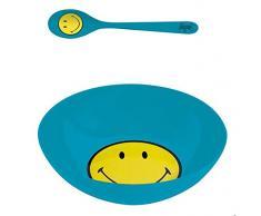 zakdesigns 6662-2301 Frühstücksset Smiley Durchmesser 17 cm, Melamin, blau, 17 x 17 x 7 cm
