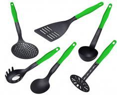 Lantelme KH-6tlg-schwarz-gruen 6-teilig Küchenhelfer Set, Hitzebeständig Kunststoff bis zu 260 Grad Celcius, schwarz / grün