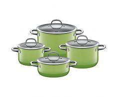 Silit Passion Green Topfset 4-teilig, Töpfe mit Glasdeckel, Silargan Funktionskeramik, Induktionstöpfe, Topf Induktion, grün
