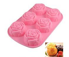 Allforhome 6-er Silikon-Form zum Backen und Basteln, Form Rose, für Kuchen, Muffins, handgefertigte Seife, Kekse, Schokolade, Eiswürfel