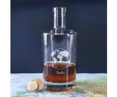 Privatglas Whisky Karaffe Cognac Karaffe mit Gravur einer Weltkugel und Ihrem Wunschnamen