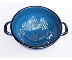 Abtropfschale Sieb Nr.553C emailliert 22cm Emaille Abtropfsieb Küchensieb (Blau)