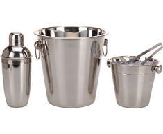 Set 4 Zubehör für Cocktail aus Edelstahl – mit Teile Cocktailshaker, Eiseimer, Eiszange und Kühler