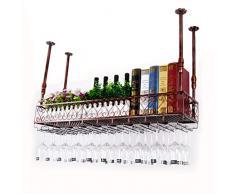 SN Weinglas Rack Decke Weinglashalter Flaschenhalter Stemware Wandbehang Becher-Trockner Lager Verstellbare Höhe Deko-Regal Stehend Anzeigen (Color : Bronze)