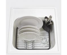Umbra Sinkin Abtropfgestell aus Metall mit Abnehmbarem Besteckkorb - Passt in Spülbecken oder auf Arbeitsfläche, Kompakt und Handlich, Schwarz / Nickel