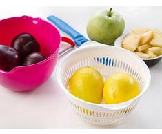 Demarkt Multifunktions Doppelt Schicht Küchensiebe Abtropfen lassen Korb für Gemüse oder Obst aus PP Kunststoff 17*15*7.5cm Rose Rot