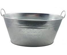 Spetebo Getränkekühler Cold Drinks - Zinkwanne 24 Liter - Eiseimer Eiswürfelbehälter Sektkühler Eiskübel