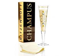 Ritzenhoff Champus Champagnerglas von Flora Waycott, aus Kristallglas, 200 ml, mit Edlen Gold- und Platinanteilen, inkl. Stoffserviette