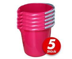 Putzeimer Set mit Ausguss und Skala, 10 Liter - Eimer rund, Wassereimer Kunststoff, Haushaltseimer Plastik - verschiedene Farben - 5 Stück, Farbe:pink