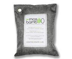 mosoobamboo Lufterfrischer cleanAir - 250g, grau aus Bambus Aktivkohle - Natürlicher Geruchsentferner & Luftentfeuchter für Auto, Küche, Bad, Kleider-Schrank - Biologischer Geruchskiller