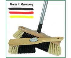 Novaliv Handfeger und Zimmerbesen I mit Stiel I feine Kunstborsten I Handbesen Holz I Teleskopstiel I Stubenbesen Handkehrer Hand Brush Broom