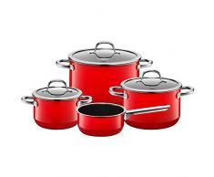 Silit Passion Red Topfset 4-teilig, Töpfe mit Glasdeckel, Silargan Funktionskeramik, Induktionstöpfe, Topf Induktion, rot