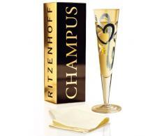 RITZENHOFF Champus Champagnerglas von Thomas Marutschke, aus Kristallglas, 200 ml, mit edlen Gold- und Platinanteilen, inkl. Stoffserviette