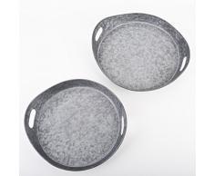 Tablett 2er Set rund Vintage Deko Metall 42-48cm grau Schale