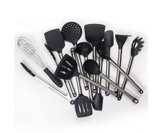 SXSHYUJE Antihaft Silikon Küchenhelfer Set 14 Pcs Kochset, Aus Edelstahl, Küchenutensilien Set - Antihaft Aufhängen Hitzebeständig Kochbesteck Backutensilien, Grey