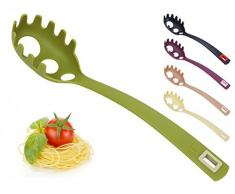 Spaghettilöffel mit Spaghettimaß - Spaghettiheber - Pastalöffel - Pastaheber - Nudelheber - Nudellöffel - Spaghettigreifer - Spaghetti, Farbe:Oliv