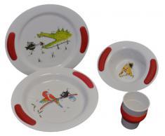 Ornamin Kindergeschirrset mit Kinderteller flach und tief, Kinderschale und Kinderbecher mit roten Griffkissen, Dekor Zoo