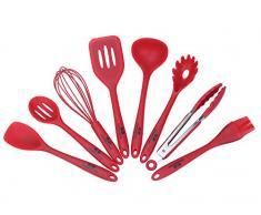GA Homefavor 8 Stück Red Silikon Küchenutensilien Hitzebeständig Küchenhelfer Set Pfannenwender, Schöpfkelle, Backpinsel, Rührlöffel, Nudel Portionierer, Schaumlöffel Küchenzange