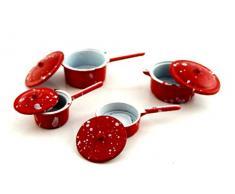 Melody Jane Puppenhaus Miniatur Küchenzubehör Rot Metall Kasserolle Pfannen Set 2106r