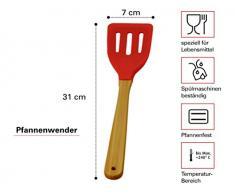 Silikon Küchenhelfer-Set mit Wender, Löffel, Schaber und Pinsel. 4-teilig mit Bambus Griff. Das Lacui Kochbesteck ist geeignet für Haushalt und Camping.