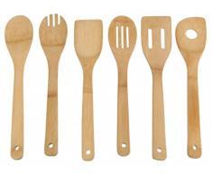 Bambus Küchenhelfer Set 6-tlg. - Kochlöffel - Rührkelle - Lochkelle - Pfannenwender - Kochbesteck - Küchenutensilien - Holzlöffel