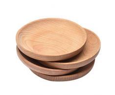 Kiefer Pizzateller Set von 12 Ruibal Holzplatte Fleischteller /Ø 16 cm Schneidebrett Holzteller Rund