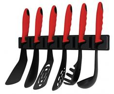 Kopf 124849 Küchenhelfer-Set Nylon (7-teilig, Wandhalterung) schwarz/rot