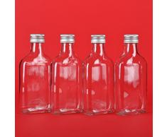 20 leere Glasflaschen 200ml Tasche mit Schraubverschluss zum selbst Abfüllen 0,2 Liter l Likörflaschen Schnapsflaschen Essigflaschen Ölflaschen kleine Saftflaschen mit Verschluss Deckel Höhe 15,5 cm von slkfactory