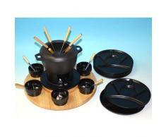 Fondue-Set aus Gusseisen, Keramik und Holz - 30-teilig
