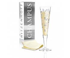 RITZENHOFF Champus Jahrgangs-Champagnerglas 2018 von Burkhard Neie, aus Kristallglas, 200 ml, mit edlen Platinanteilen, inkl. Stoffserviette