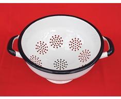 Abtropfschale Sieb Nr.553C emailliert 22cm Emaille Abtropfsieb Küchensieb (Weiß)