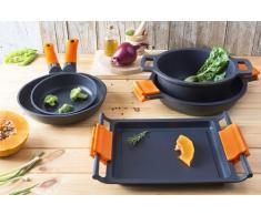 BRA Efficient Paella-Pfanne, Aluminiumguss mit Antihaftbeschichtung Teflon Platinum Plus, Silikongriffe 40 cm Schwarz