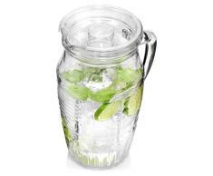 Bormioli Glaskaraffe Romantica mit Eiseinsatz | Füllmenge Karaffe 1,8 Liter | Hält Getränke kühl ohne zu verwässern | Glasprägung im schönen Vintage Design