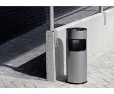 Durable 333201 Papierkorb Metall mit Ascher Safe, selbstlöschender Standaschenbecher mit 17l Mülleimer und 2l Ascher, schwarz