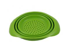 Platzsparendes Silikon Sieb faltbar in grün, Küchensieb Nudelsieb Faltsieb Abtropfsieb Seiher