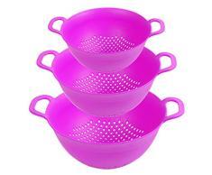 Premium Plastiksieb 3er Set - BPA frei, nicht schädlich für den Hormonhaushalt - Klein, mittel, groß - Kunststoff-Küchensieb aus bester Verarbeitung - Spülmaschinenfest, High Qualitity Nudelsieb-SET