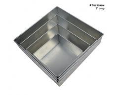 Professionelle Quadrat Kuchenformen 4er Set Backform cake pans / tins 6 8 10 12 by EUROTINS