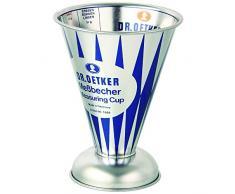 Dr. Oetker Messbecher Nostalgie, Messkanne aus Weißblech, trichterförmiger Messbecher mit vielfältiger Skalierung aus der Serie Modern Baking - Retro Design (Maße: Ø11x14,5 cm), Menge: 1 Stück