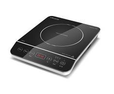 Ellrona ERGO Touch 2000, Einzel-Induktionskochfeld, Induktions-Kochplatte einzeln, 10 präzise Leistungsstufen, Kochen mit Induktion ist bis zu 50% energiesparender und sicherer als mit einem normalen Kochfeld, so schnell wie Gas