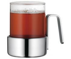 WMF Kult Teeglas, mit Halter, Glas hitzebeständig, Cromargan Edelstahl, mattiert, spülmaschinengeeignet