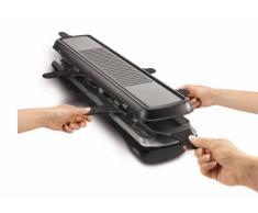 Tefal RE 5228 Raclette Simply Line 6 Inox & Design (1050 Watt, 6 Pfännchen, klassische und Teppan Yaki-Grillfläche) schwarz
